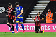 Goal 2-0 -Junior Stanislas (19) of AFC Bournemouth celebrates after scoring his second goal of the night from the penalty spot during the EFL Sky Bet Championship match between Bournemouth and Nottingham Forest at the Vitality Stadium, Bournemouth, England on 24 November 2020.
