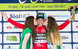 Winner Sam Bennett (ITA) of Bora - Hansgrohe celebrates in red jersey at trophy ceremony during Stage 1 of 24th Tour of Slovenia 2017 / Tour de Slovenie from Koper to Kocevje (159,4 km) cycling race on June 15, 2017 in Slovenia. Photo by Vid Ponikvar / Sportida