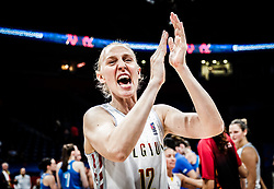 Ann Wauters of Belgium celebrates during basketball match between Women National teams of Belgium and Slovenia in the Qualification for the Quarter-Finals of Women's Eurobasket 2019, on July 2, 2019 in Belgrade Arena, Belgrade, Serbia. Photo by Vid Ponikvar / Sportida
