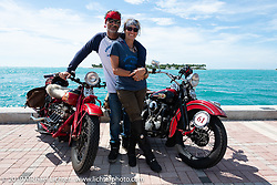 Andrea Labarbara and her husband Bob Zeolla during the Cross Country Chase motorcycle endurance run from Sault Sainte Marie, MI to Key West, FL. (for vintage bikes from 1930-1948). The Grand Finish in Key West's Mallory Square after the 110 mile Stage-10 ride from Miami to Key West, FL and after covering 2,368 miles of the Cross Country Chase. Sunday, September 15, 2019. Photography ©2019 Michael Lichter.