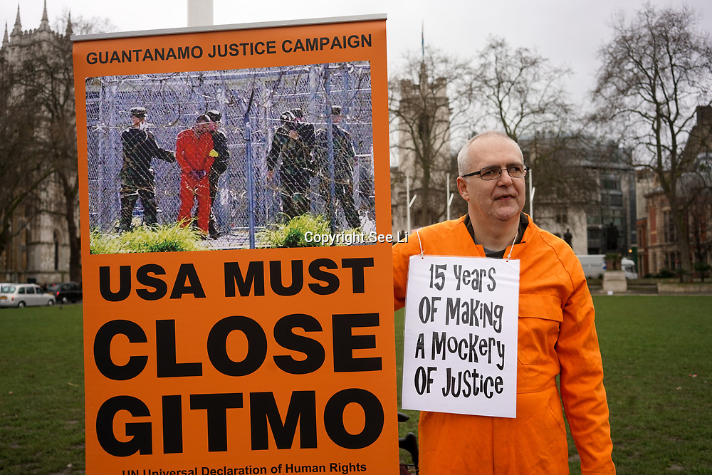 London, UK. 8th March, 2017. Activists continue protest the illegal Guantanamo Bay detention camp since the begin 'War on Terror' detent without trail demand it to Shut down outside Parliament,London,UK. by See Li