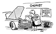 (Woman drops car sickness pills into her car's radiator)