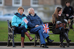 People wait with Union Jack flags for Jenny Jones' arrival - Photo mandatory by-line: Dougie Allward/JMP - Tel: Mobile: 07966 386802 03/03/2014 -
