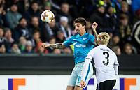 TRONDHEIM, NORWAY - NOVEMBER 02, 2017. UEFA Europa League, round 4: Rosenborg BK (Norway) 1-1 Zenit St Petersburg (Russia). Zenit St Petersburg's Emiliano Rigoni (L) and Rosenborg's Birger Meling (R).