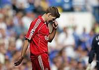 Photo: Lee Earle.<br /> Chelsea v Liverpool. The Barclays Premiership. 17/09/2006. Liverpool's Steven Gerrard looks dejected after losing to Chelsea.
