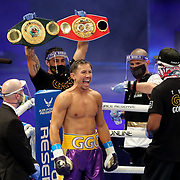 Gennady Golovkin of Khazakhstan is seen after introductions to fight Kamil Szeremeta of Poland during the IBF middleweight world title fight at the Seminole Hard Rock Hotel and Casino in Hollywood, Florida USA on 18, Dec 2020. Photo: Alex Menendez