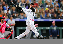 May 13, 2018 - Denver, CO, U.S. - DENVER, CO - MAY 13: Colorado Rockies outfielder Charlie Blackmon (19) bats during a regular season MLB game between the Colorado Rockies and the visiting Milwaukee Brewers on May 13, 2018 at Coors Field in Denver, CO. (Photo by Russell Lansford/Icon Sportswire) (Credit Image: © Russell Lansford/Icon SMI via ZUMA Press)