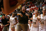 Steven St. John/Tribune..The Cibola bench, led by coach Lori Stephenson, reacts to a call as time slips away during the final seconds of their 46-41 loss to La Cueva on Tuesday, March 6, 2007 at The Pit.