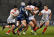 Sale Sharks wing Denny Solomona runs at the Connacht defence during a European Challenge Cup Quarter Final match won by Sale 20-10 in Eccles, Greater Manchester, United Kingdom, Friday, March 29, 2019.  (Steve Flynn/Image of Sport)
