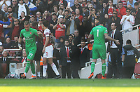 FOOTBALL - 2018 / 2019 Premier League - Arsenal vs. Watford<br /> <br /> Arsenal goalkeeper, Petr Cech is consoled by Manager, Unai Emery as he leaves the field injured and replacement Bernd Leno comes on to the field at the Emirates<br /> <br /> COLORSPORT/ANDREW COWIE