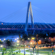 Bond Bridge over the Missouri River in Kansas City, Missouri, a dual-span cable stay bridge, completed in 2010.