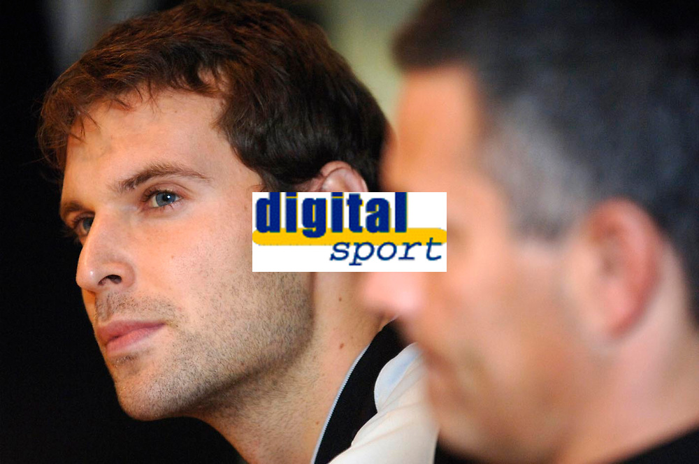 Photo: Daniel Hambury.<br />Chelsea Press Conference. 05/12/2005.<br />Chelsea goal keeper Petr Cech talks to the media ahead of tomorrows Champions League game against Liverpool.