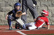 Chester, New York  - The catcher waits for the throw as a baserunner slides into home plate during the TRUMP March Madness youth baseball tournament at The Rock Sports Park on March 18, 2012. ©Tom Bushey / The Image Works