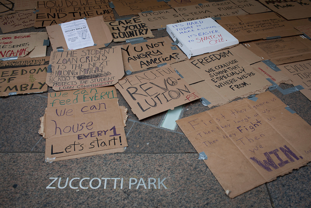 #occupywallstreet anti-corporate protests at Zuccotti Park in Lower Manhattan on September 19, 2011.  Photograph by Andrew Hinderaker.