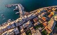 Aerial view above of Porto Venere, Italy