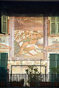 Frescos on the walls of a building in the Piazza delle Erbe in Verona, Italy