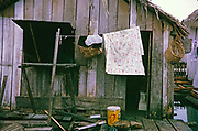 Detail of building in Informal housing wooden shacks built on timber logs known as the Floating City, Manaus, Brazil 1962 removed as part of slum clearance policy in late 1960s