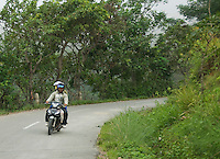 Motorcycle on a mountain road south of Dili, Timor-Leste (East Timor)