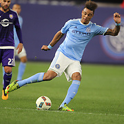 Khiry Shelton, NYCFC, in action during the New York City FC Vs Orlando City, MSL regular season football match at Yankee Stadium, The Bronx, New York,  USA. 18th March 2016. Photo Tim Clayton