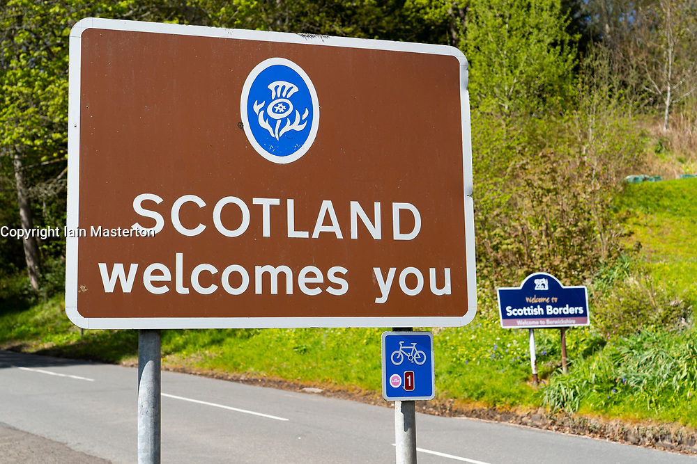 Scottish Borders, Scotland, UK. 11 May 2021. Images from Scotland-England border crossings in the Scottish Borders today. A hard border with England is likely if Scotland should vote to break with the UK. Following the Scottish parliamentary election where the SNP failed to achieve a majority in the Scottish Parliament, the issue of Scottish independence is once again back in the news. Pic; Scottish border signs at Newham beside River Tweed border.  Iain Masterton/Alamy Live News