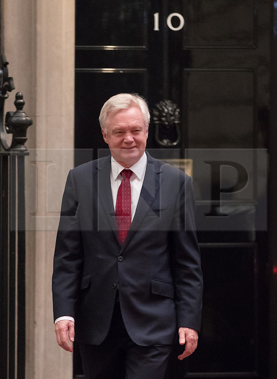 © Licensed to London News Pictures. 16/10/2017. London, UK. Brexit Secretary David Davis leaves Downing Street for Brussels. Later Mrs May and Brexit Secretary David Davis will have dinner with EU chief negotiator Michel Barnier and Commission chief Jean-Claude Juncker in Brussels after Brexit talks were described as being in deadlock. Photo credit: Peter Macdiarmid/LNP