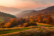 Picturesque autumn scene at sunset