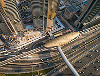 Aerial view of Burj Khalifa metro in Dubai, U.A.E.