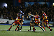 Tom James of Cardiff Blues is tackled by James Thomas of the Dragons. .Guinness Pro14 rugby match, Cardiff Blues v Dragons at the Cardiff Arms Park in Cardiff, South Wales on Friday 6th October 2017.<br /> pic by Andrew Orchard, Andrew Orchard sports photography.