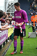 Liverpool's goalkeeper Brad Jones signs autographs for the fans. Pre-season friendly match, Preston North End v Liverpool at Deepdale in Preston, England on Saturday 19th July 2014.<br /> pic by Chris Stading, Andrew Orchard sports photography.