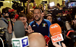 Italy, Milan - May 26, 2019.Italian Interior Minister and Deputy Premier Matteo Salvini, of the Northern League, votes the European Parliament elections.Here while talking with journalists (Credit Image: © Piaggesi/Fotogramma/Ropi via ZUMA Press)