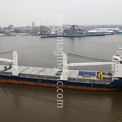 Aerial view of the BBC Steinwall, cargo tanker, along the Delaware River, outside of Philadelphia