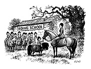 (Willowbrook Riding School. Girl giving apple to teacher's horse)