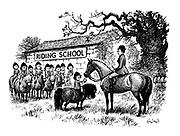 (Willowbrook Riding School. Girl giving apple to teacher's horse)