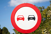 No overtaking road sign close-up, Spain