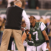 Head Coach Rex Ryan shakes hands with Geno Smith as he does with every player during warm up before the New York Jets Vs Chicago Bears, NFL regular season game at MetLife Stadium, East Rutherford, NJ, USA. 22nd September 2014. Photo Tim Clayton for the New York Times