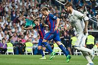 Ivan Rakitic of FC Barcelona celebrates after scoring a goal during the match of La Liga between Real Madrid and Futbol Club Barcelona at Santiago Bernabeu Stadium  in Madrid, Spain. April 23, 2017. (ALTERPHOTOS)