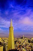 Transamerica pyramid and skyline of San Francisco, California USA