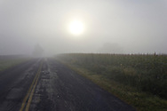 Wawayanda, New York  - The sun shines through the fog over a country road and corn field on the morning of Sept. 21, 2013. ©Tom Bushey / The Image Works