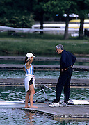 Munich, GERMANY   Right Coach Ricky IBBARA, chat's to ARG LW1X. 1998 FISA World Cup, Munich Olympic Rowing Course, 29-31 May 1998.  [Mandatory Credit, Peter Spurrier/Intersport-images] 1998 FISA World Cup, Munich, GERMANY