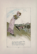 As I was going up Pippin Hill, / Pippin Hill was dirty / There I met a sweet pretty lass / And she dropped me a curtsey from the book Mother Goose : or, The old nursery rhymes by Kate Greenaway, Engraved and Printed by Edmund Evans published in 1881 by George Routledge and Sons London nad New York
