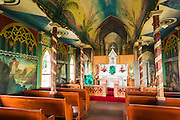 Interior of St. Benedict's Painted Church, Captain Cook, The Big Islands, Hawaii USA
