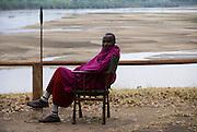 Tanzania wildlife safari Local African Guard on wildlife lookout