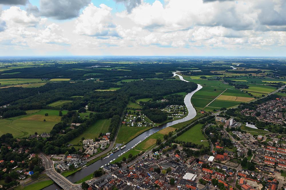 Nederland, Overijssel, Ommen, 30-06-2011;.De Overijsselsche Vecht met beneden in beeld Ommen..luchtfoto (toeslag), aerial photo (additional fee required).copyright foto/photo Siebe Swart