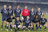 Fotball<br /> Champions League 2003/04<br /> Juventus v Olympiakos<br /> 10. desember 2003<br /> Foto: Digitalsport<br /> NORWAY ONLY<br /> Lagbilde Olympiakos<br /> BACK ROW LEFT TO RIGHT : PEDRAG DJORDJEVIC / GEORGIOS ANATOLAKIS / GIOVANNI / DIMITRIOS ELEFTHEROPOULOS / STYLIANOS VENETIDIS / PANTELIS KAFES . FRONT ROW : NERY ALBERTO CASTILLO / DIMITRIOS MAVROGENIDIS / ANASTASIOS PANTOS / CHRISTIAN KAREMBEU / ATHANASIOS KOSTOULAS )