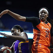 UNCASVILLE, CONNECTICUT- JULY 15: Jonquel Jones #35 of the Connecticut Sun in action during the Los Angeles Sparks Vs Connecticut Sun, WNBA regular season game at Mohegan Sun Arena on July 15, 2016 in Uncasville, Connecticut. (Photo by Tim Clayton/Corbis via Getty Images)