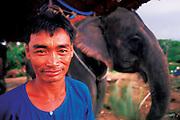 A Thai farmer poses with his elephant on his farmland.