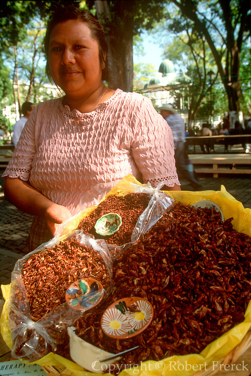 MEXICO, OAXACA, OAXACA STATE Zocalo or main square activity with vendor selling fried grasshoppers