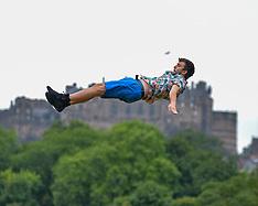Circus performers prepare for the Fringe, Edinburgh, 1 August 2019