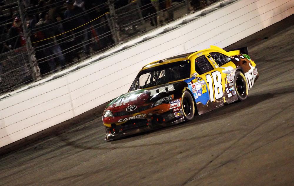 Apr 28, 2012; Richmond, VA, USA; NASCAR Sprint Cup driver Kyle Busch (18) during the Capital City 400 at Richmond International Raceway. Mandatory Credit: Peter Casey-US PRESSWIRE.
