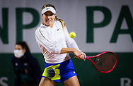 Eugenie Bouchard of Canada in action against Anna Kalinskaya of Russia during the first round at the Roland Garros 2020, Grand Slam tennis tournament, on September 27, 2020 at Roland Garros stadium in Paris, France - Photo Rob Prange / Spain ProSportsImages / DPPI / ProSportsImages / DPPI